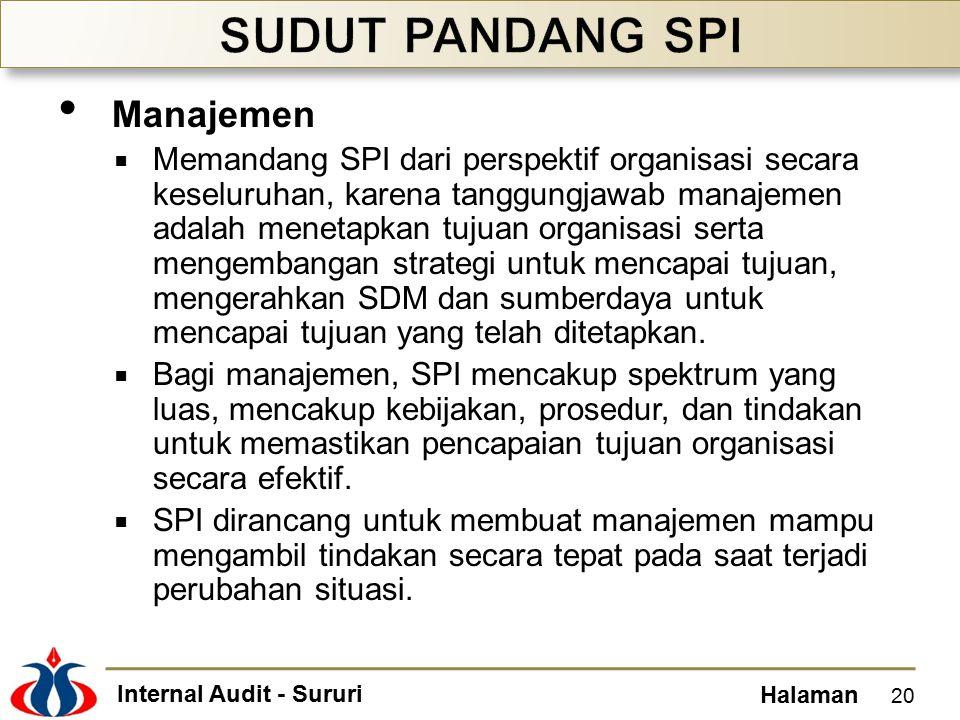 Internal Audit - Sururi Halaman Manajemen  Memandang SPI dari perspektif organisasi secara keseluruhan, karena tanggungjawab manajemen adalah menetapkan tujuan organisasi serta mengembangan strategi untuk mencapai tujuan, mengerahkan SDM dan sumberdaya untuk mencapai tujuan yang telah ditetapkan.