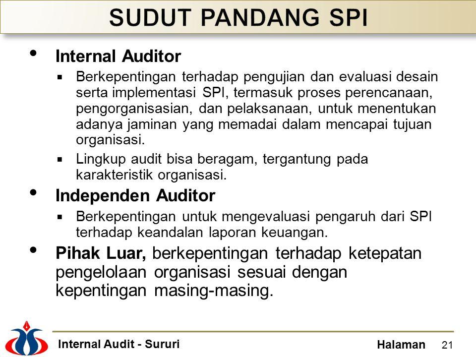 Internal Audit - Sururi Halaman Internal Auditor  Berkepentingan terhadap pengujian dan evaluasi desain serta implementasi SPI, termasuk proses perencanaan, pengorganisasian, dan pelaksanaan, untuk menentukan adanya jaminan yang memadai dalam mencapai tujuan organisasi.