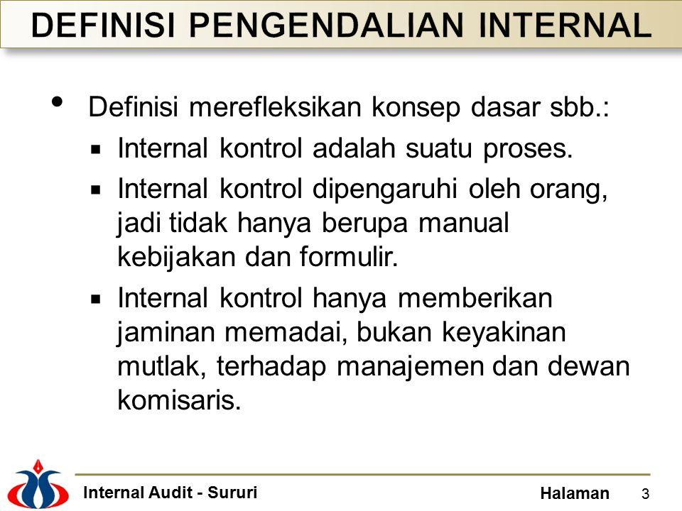 Internal Audit - Sururi Halaman Framework pengendalian internal adalah rerangka tentang prinsip-prinsip dasar pengendalian internal, yang dirancang untuk digunakan sebagai pedoman dalam mengevaluasi praktik bisnis suatu entitas.