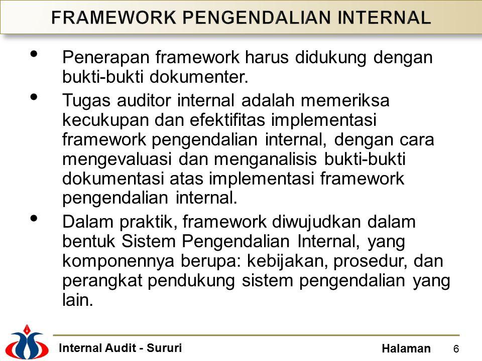 Internal Audit - Sururi Halaman Lingkungan pengendalian adalah praktik yang sehat dalam pengelolaan organisasi untuk meningkatkan efektifitas penerapan sistem pengendalian internal, yang mencakup: Komitmen terhadap integritas dan nilai-nilai etika.