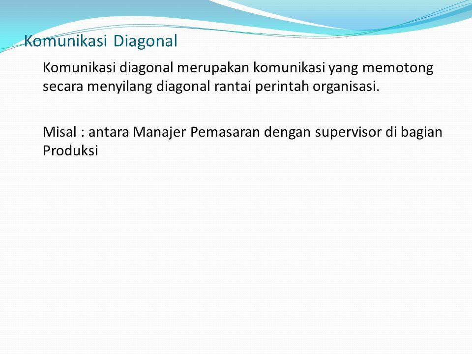 Komunikasi Diagonal Komunikasi diagonal merupakan komunikasi yang memotong secara menyilang diagonal rantai perintah organisasi. Misal : antara Manaje