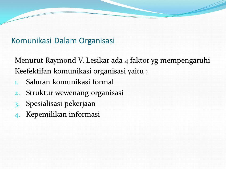 Komunikasi Dalam Organisasi Menurut Raymond V. Lesikar ada 4 faktor yg mempengaruhi Keefektifan komunikasi organisasi yaitu : 1. Saluran komunikasi fo