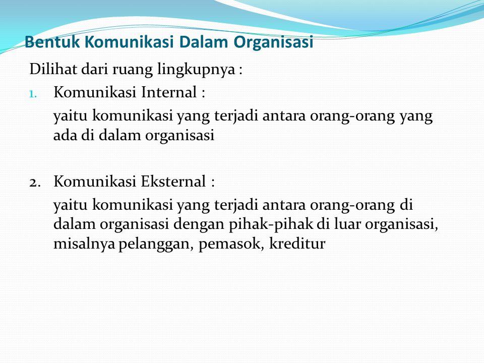 Bentuk Komunikasi Dalam Organisasi Dilihat dari ruang lingkupnya : 1. Komunikasi Internal : yaitu komunikasi yang terjadi antara orang-orang yang ada