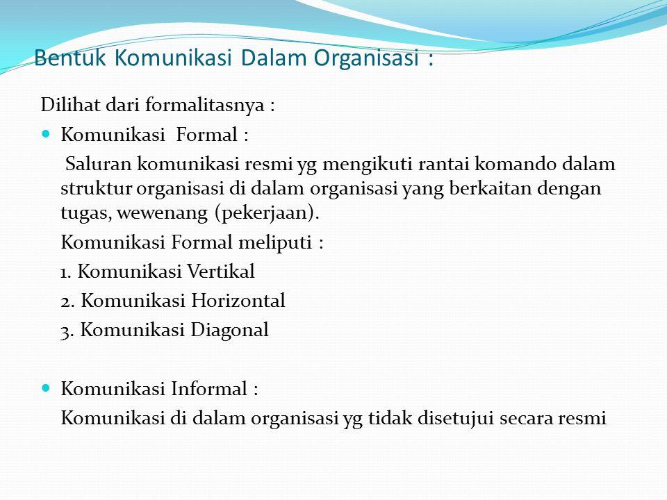 Bentuk Komunikasi Dalam Organisasi : Dilihat dari formalitasnya : Komunikasi Formal : Saluran komunikasi resmi yg mengikuti rantai komando dalam struk