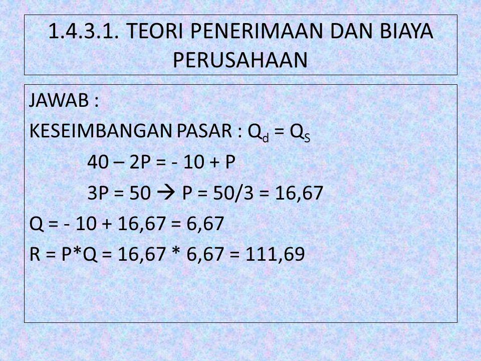 1.4.3.1. TEORI PENERIMAAN DAN BIAYA PERUSAHAAN JAWAB : KESEIMBANGAN PASAR : Q d = Q S 40 – 2P = - 10 + P 3P = 50  P = 50/3 = 16,67 Q = - 10 + 16,67 =