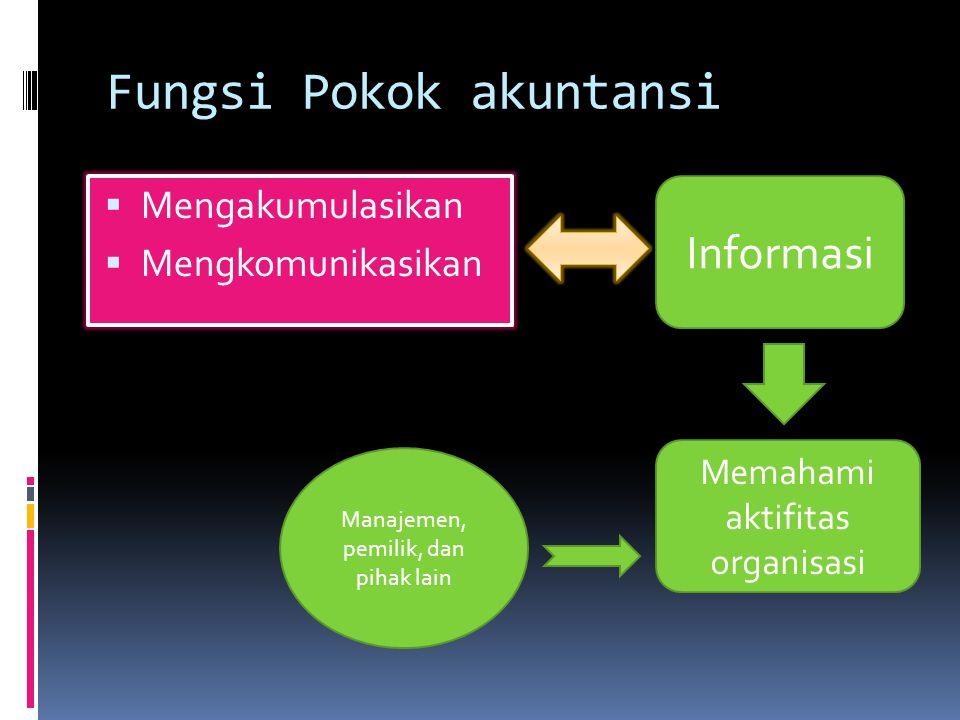 Fungsi Pokok akuntansi  Mengakumulasikan  Mengkomunikasikan Informasi Memahami aktifitas organisasi Manajemen, pemilik, dan pihak lain