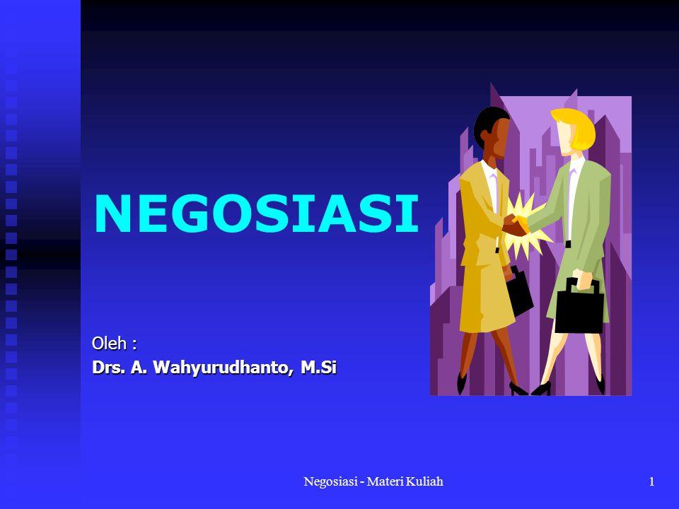 Negosiasi - Materi Kuliah1 NEGOSIASI Oleh : Drs. A. Wahyurudhanto, M.Si