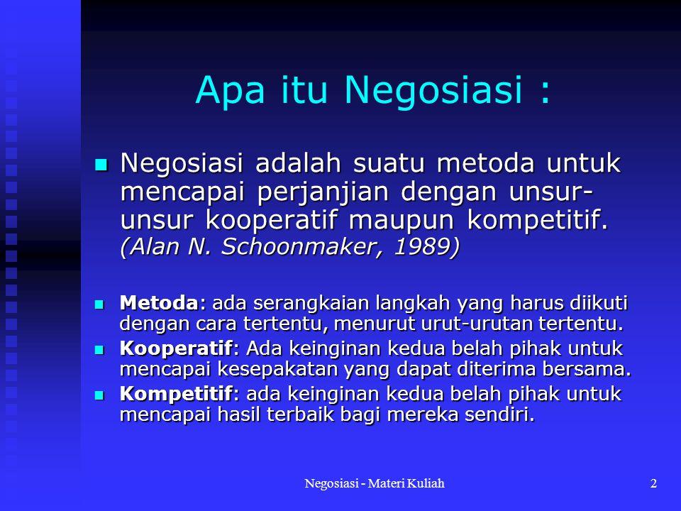 Negosiasi - Materi Kuliah2 Apa itu Negosiasi : Negosiasi adalah suatu metoda untuk mencapai perjanjian dengan unsur- unsur kooperatif maupun kompetitif.