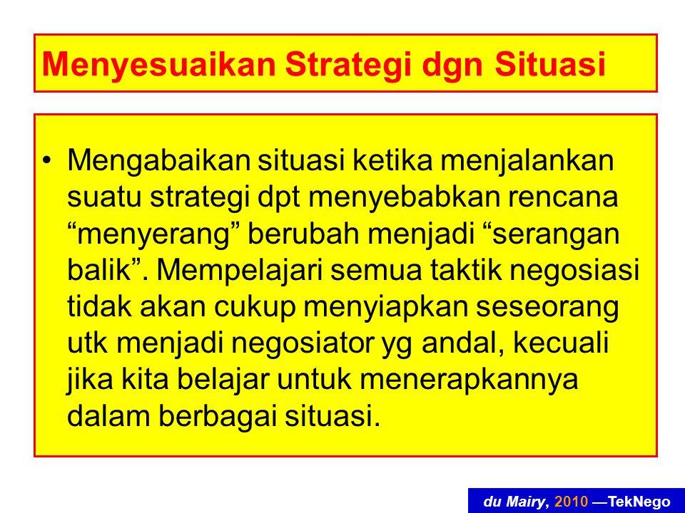 du Mairy, 2010 —TekNego Menyesuaikan Strategi dgn Situasi Mengabaikan situasi ketika menjalankan suatu strategi dpt menyebabkan rencana menyerang berubah menjadi serangan balik .