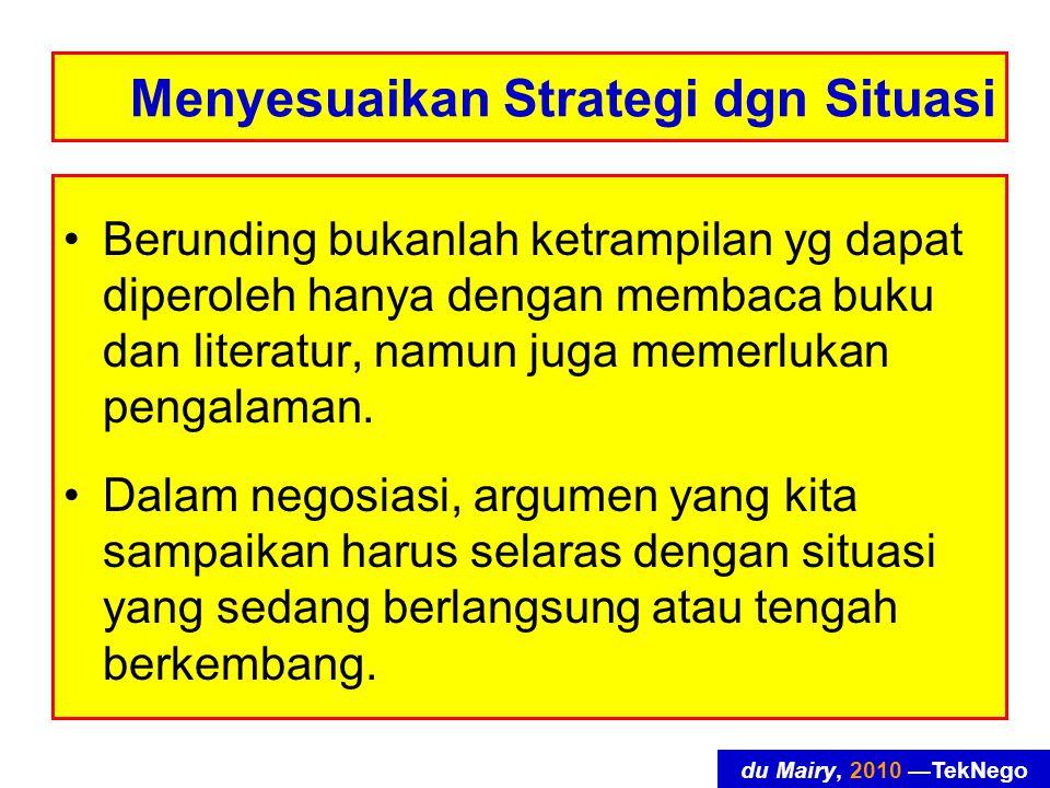 du Mairy, 2010 —TekNego Menyesuaikan Strategi dgn Situasi Berunding bukanlah ketrampilan yg dapat diperoleh hanya dengan membaca buku dan literatur, namun juga memerlukan pengalaman.