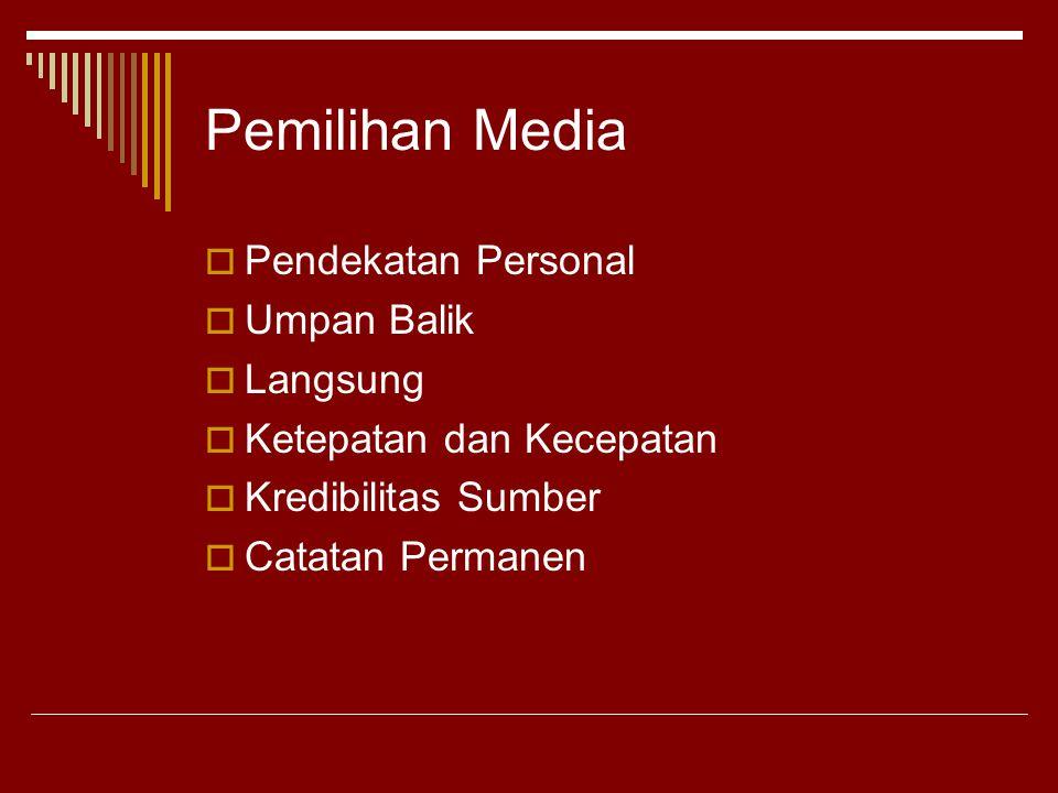 Pemilihan Media  Pendekatan Personal  Umpan Balik  Langsung  Ketepatan dan Kecepatan  Kredibilitas Sumber  Catatan Permanen