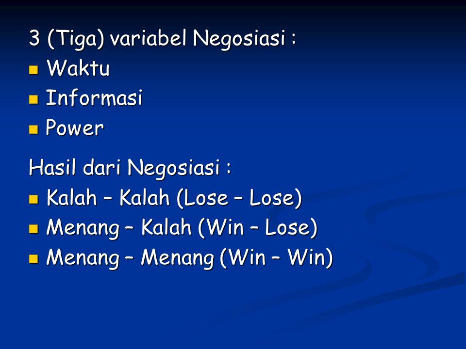 3 (Tiga) variabel Negosiasi : Waktu Waktu Informasi Informasi Power Power Hasil dari Negosiasi : Kalah – Kalah (Lose – Lose) Kalah – Kalah (Lose – Los
