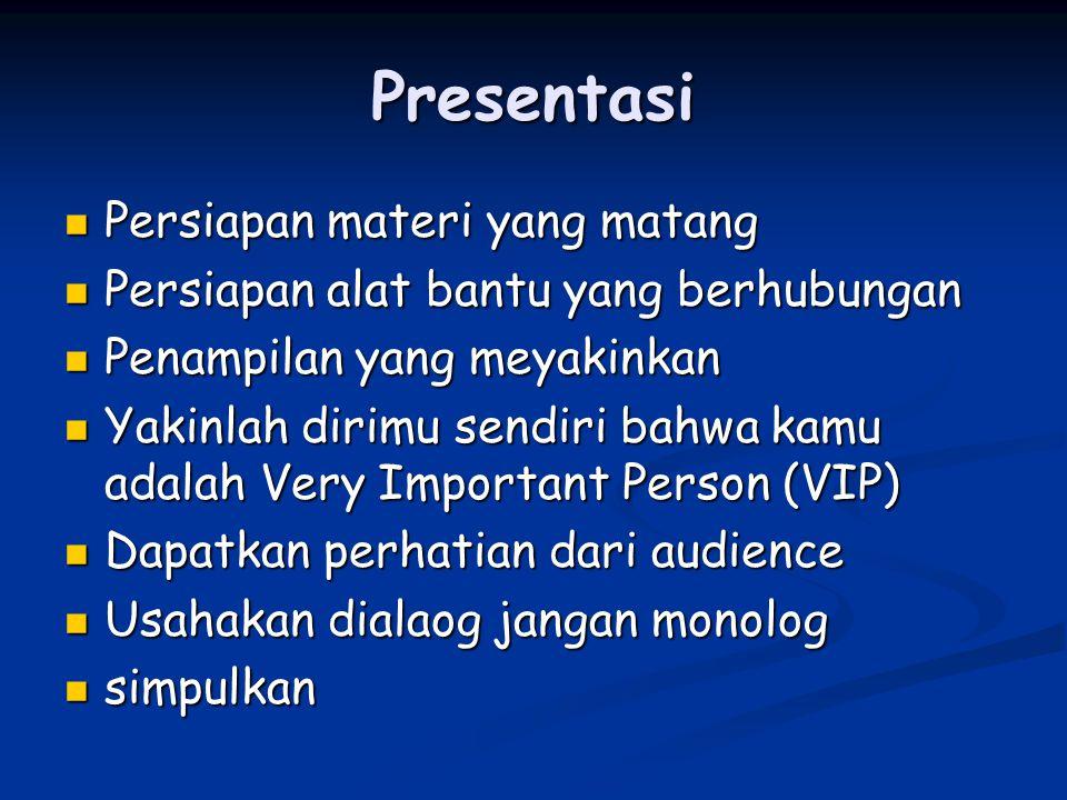 Presentasi Persiapan materi yang matang Persiapan materi yang matang Persiapan alat bantu yang berhubungan Persiapan alat bantu yang berhubungan Penam