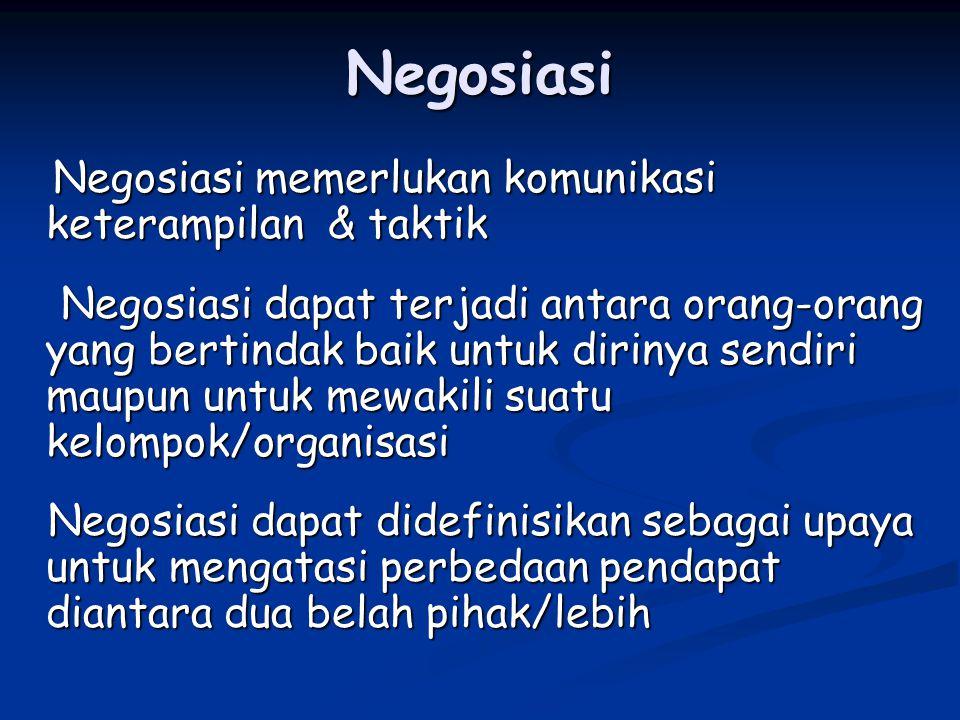 Negosiasi Negosiasi memerlukan komunikasi keterampilan & taktik Negosiasi memerlukan komunikasi keterampilan & taktik Negosiasi dapat terjadi antara o