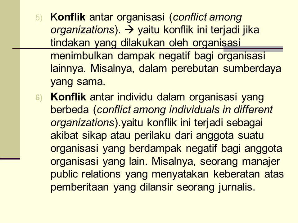 5) Konflik antar organisasi (conflict among organizations).  yaitu konflik ini terjadi jika tindakan yang dilakukan oleh organisasi menimbulkan dampa