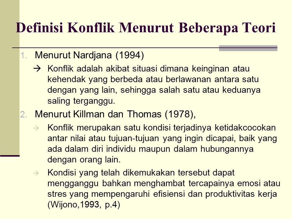 Definisi Konflik Menurut Beberapa Teori 1. Menurut Nardjana (1994)  Konflik adalah akibat situasi dimana keinginan atau kehendak yang berbeda atau be