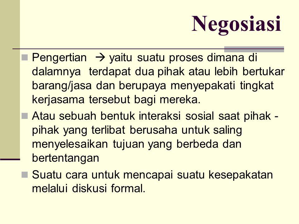 Negosiasi Pengertian  yaitu suatu proses dimana di dalamnya terdapat dua pihak atau lebih bertukar barang/jasa dan berupaya menyepakati tingkat kerja