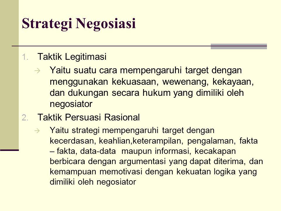 Strategi Negosiasi 1. Taktik Legitimasi  Yaitu suatu cara mempengaruhi target dengan menggunakan kekuasaan, wewenang, kekayaan, dan dukungan secara h