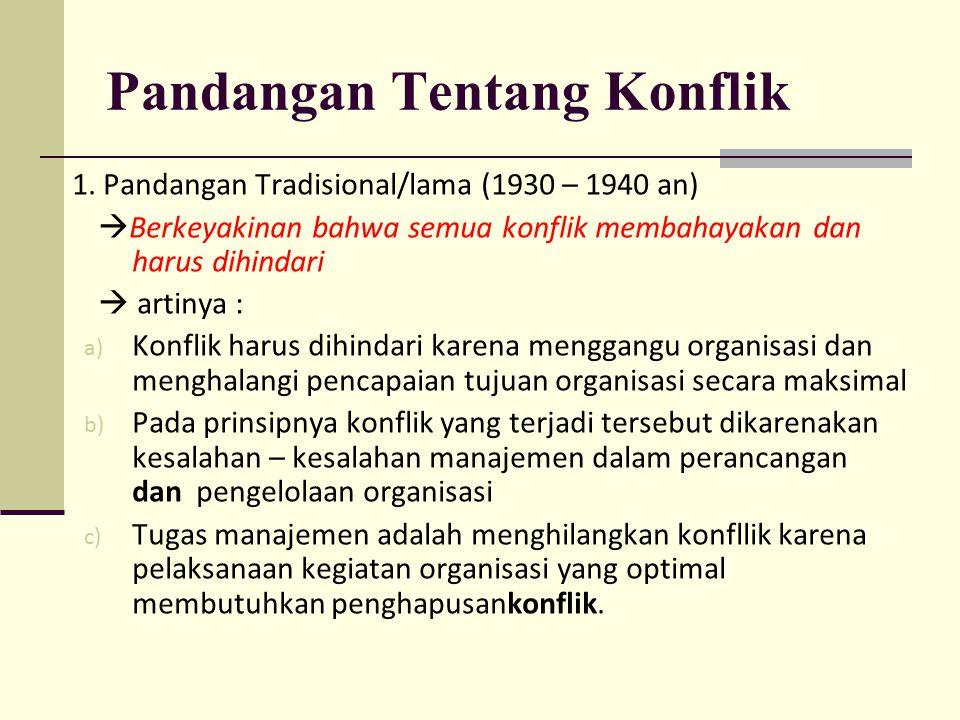 Pandangan Tentang Konflik 1. Pandangan Tradisional/lama (1930 – 1940 an)  Berkeyakinan bahwa semua konflik membahayakan dan harus dihindari  artinya