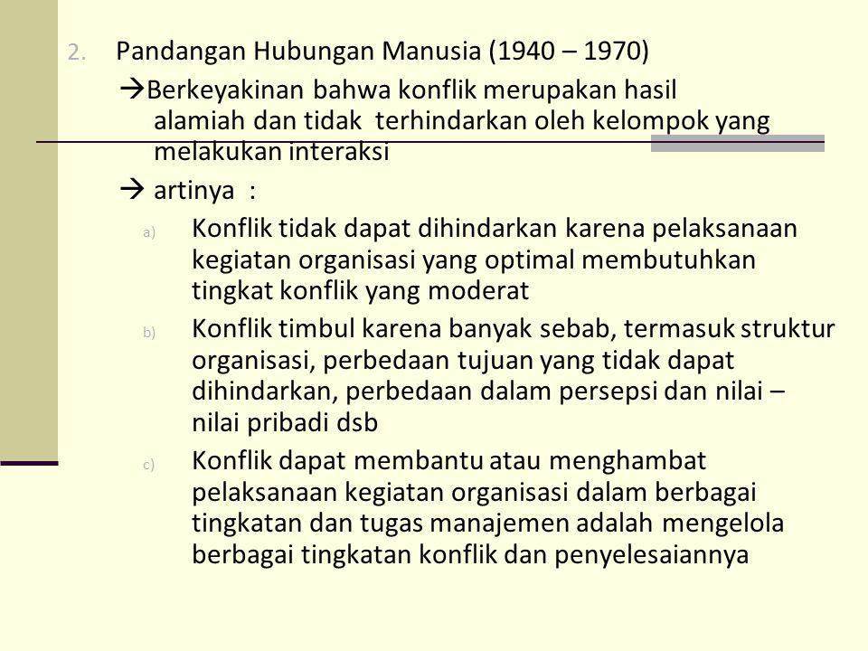 2. Pandangan Hubungan Manusia (1940 – 1970)  Berkeyakinan bahwa konflik merupakan hasil alamiah dan tidak terhindarkan oleh kelompok yang melakukan i