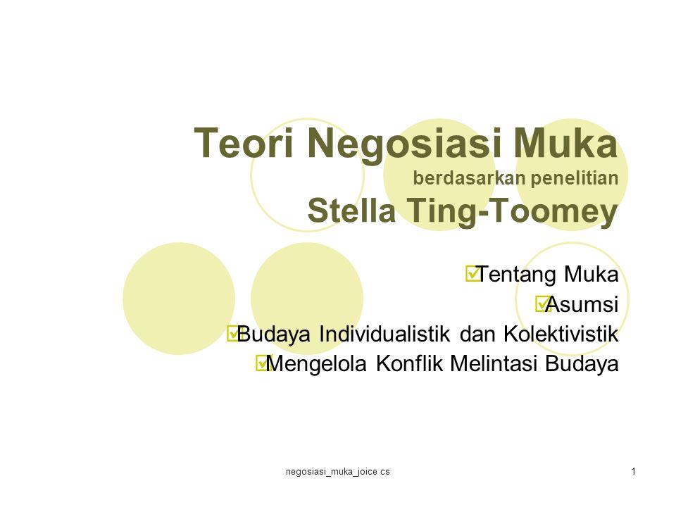 negosiasi_muka_joice cs1 Teori Negosiasi Muka berdasarkan penelitian Stella Ting-Toomey  Tentang Muka  Asumsi  Budaya Individualistik dan Kolektivistik  Mengelola Konflik Melintasi Budaya