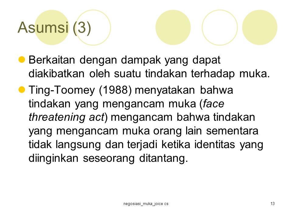 negosiasi_muka_joice cs13 Asumsi (3) Berkaitan dengan dampak yang dapat diakibatkan oleh suatu tindakan terhadap muka.