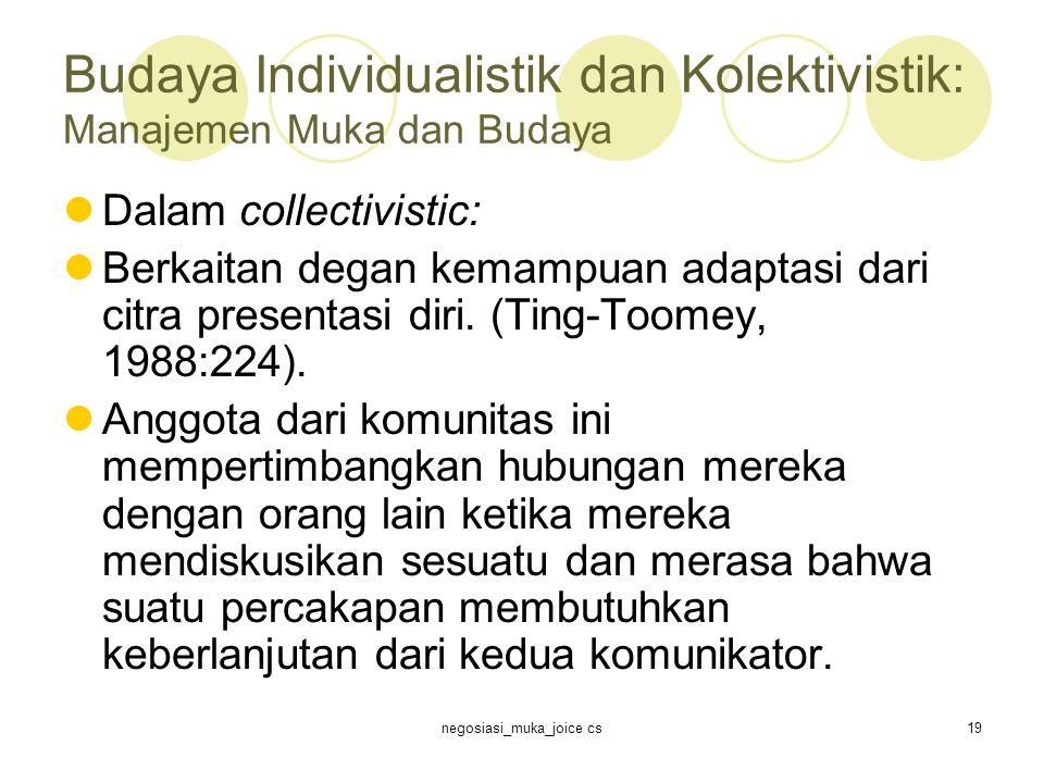 negosiasi_muka_joice cs19 Budaya Individualistik dan Kolektivistik: Manajemen Muka dan Budaya Dalam collectivistic: Berkaitan degan kemampuan adaptasi dari citra presentasi diri.