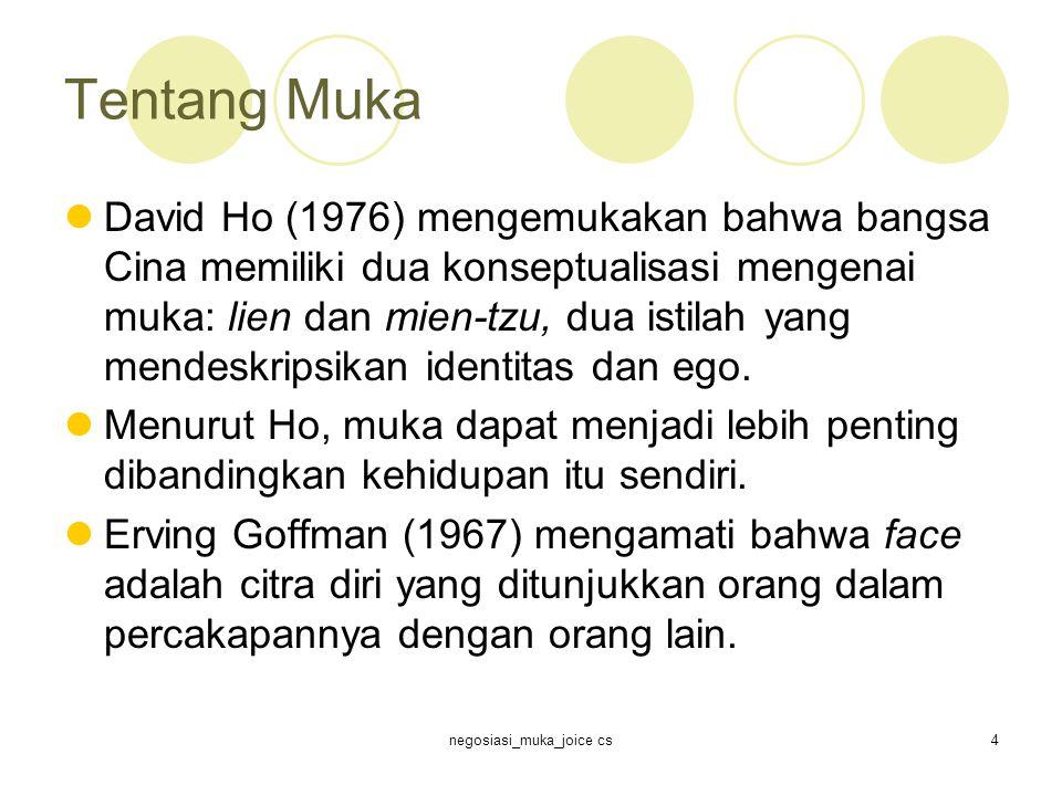 negosiasi_muka_joice cs4 Tentang Muka David Ho (1976) mengemukakan bahwa bangsa Cina memiliki dua konseptualisasi mengenai muka: lien dan mien-tzu, dua istilah yang mendeskripsikan identitas dan ego.