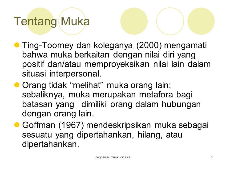 negosiasi_muka_joice cs5 Tentang Muka Ting-Toomey dan koleganya (2000) mengamati bahwa muka berkaitan dengan nilai diri yang positif dan/atau memproyeksikan nilai lain dalam situasi interpersonal.