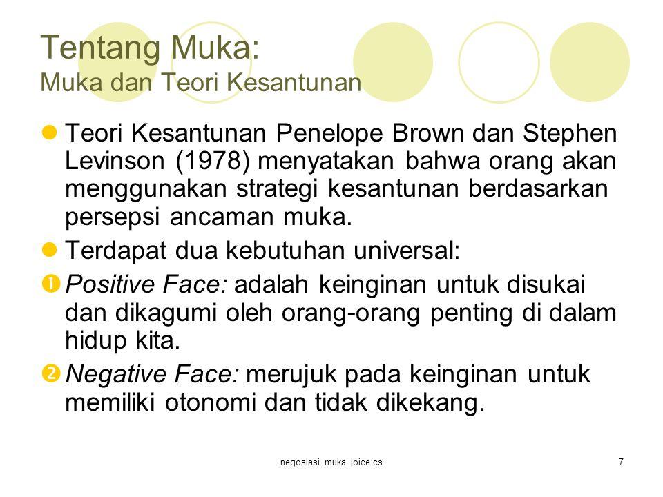 negosiasi_muka_joice cs7 Tentang Muka: Muka dan Teori Kesantunan Teori Kesantunan Penelope Brown dan Stephen Levinson (1978) menyatakan bahwa orang akan menggunakan strategi kesantunan berdasarkan persepsi ancaman muka.