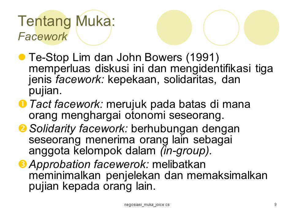 negosiasi_muka_joice cs9 Tentang Muka: Facework Te-Stop Lim dan John Bowers (1991) memperluas diskusi ini dan mengidentifikasi tiga jenis facework: kepekaan, solidaritas, dan pujian.