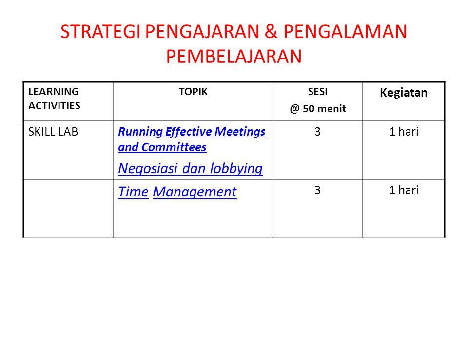 STRATEGI PENGAJARAN & PENGALAMAN PEMBELAJARAN LEARNING ACTIVITIES TOPIKSESI @ 50 menit Kegiatan SKILL LABRunning Effective Meetings and Committees Negosiasi dan lobbying 31 hari TimeTime ManagementManagement 31 hari
