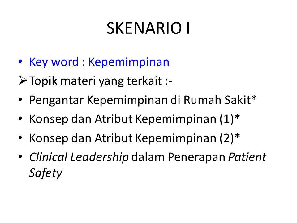SKENARIO I Key word : Kepemimpinan  Topik materi yang terkait :- Pengantar Kepemimpinan di Rumah Sakit* Konsep dan Atribut Kepemimpinan (1)* Konsep dan Atribut Kepemimpinan (2)* Clinical Leadership dalam Penerapan Patient Safety