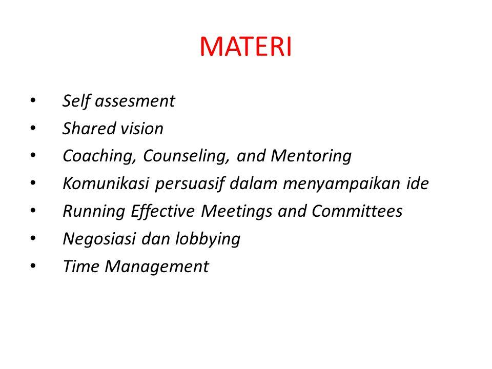 MATERI Self assesment Shared vision Coaching, Counseling, and Mentoring Komunikasi persuasif dalam menyampaikan ide Running Effective Meetings and Committees Negosiasi dan lobbying Time Management