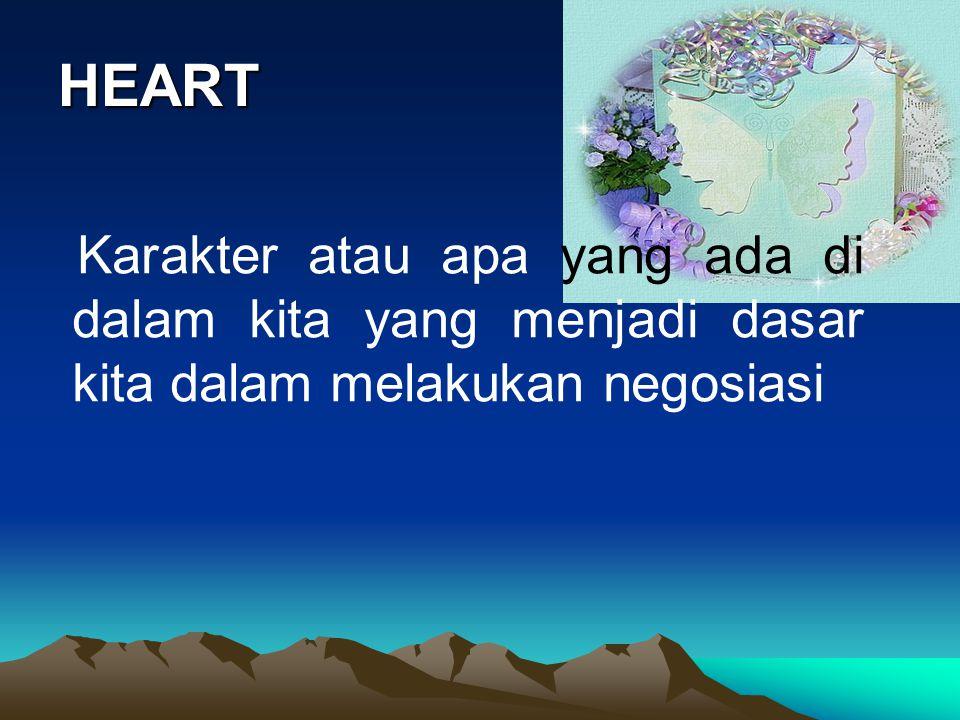 HEART Karakter atau apa yang ada di dalam kita yang menjadi dasar kita dalam melakukan negosiasi