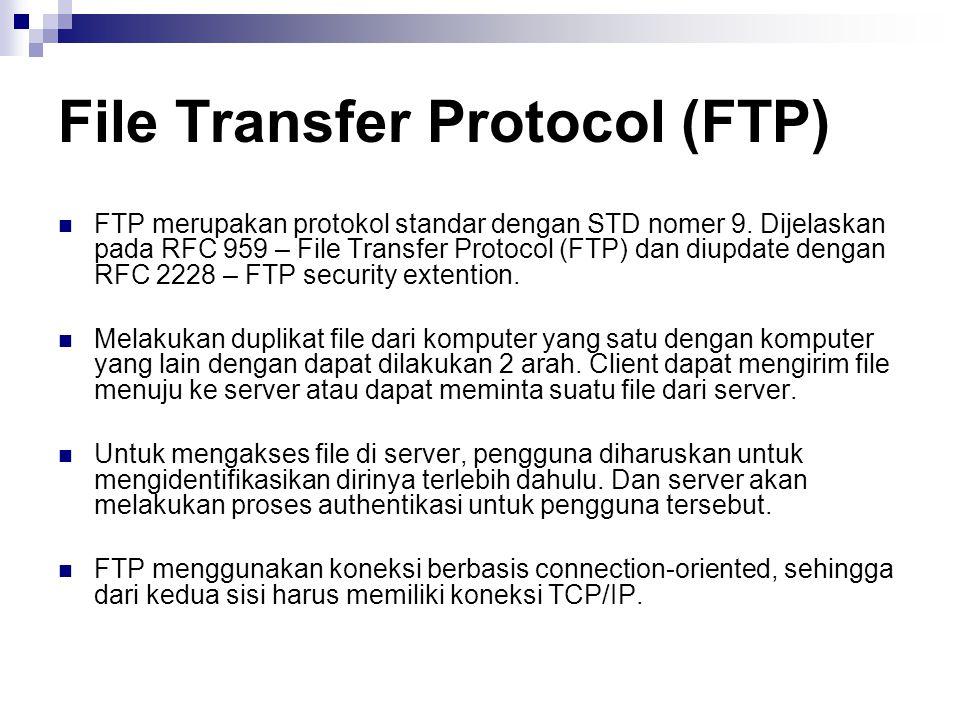 File Transfer Protocol (FTP) FTP merupakan protokol standar dengan STD nomer 9. Dijelaskan pada RFC 959 – File Transfer Protocol (FTP) dan diupdate de