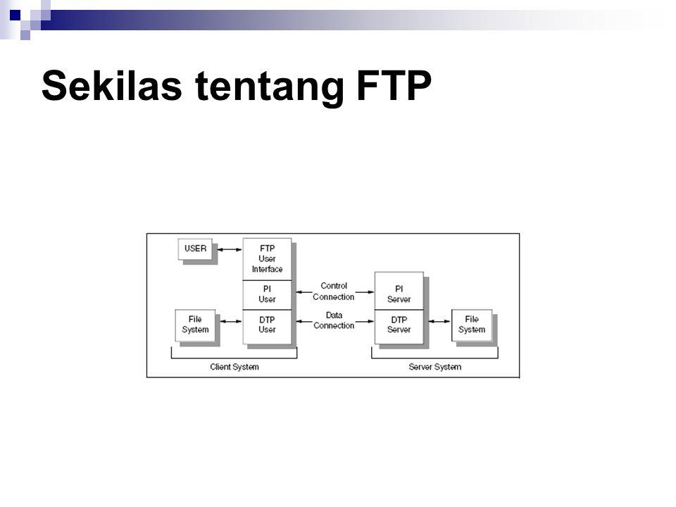 Operasional FTP Ketika melakukan FTP, pengguna akan melakukan beberapa atau semua operasional yang ada, yaitu :  Melakukan koneksi ke host lain Dengan perintah Open dan memasukkan user dan password dengan perintah User dan Pass.