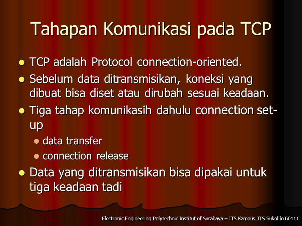 Tahapan Komunikasi pada TCP TCP adalah Protocol connection-oriented. TCP adalah Protocol connection-oriented. Sebelum data ditransmisikan, koneksi yan