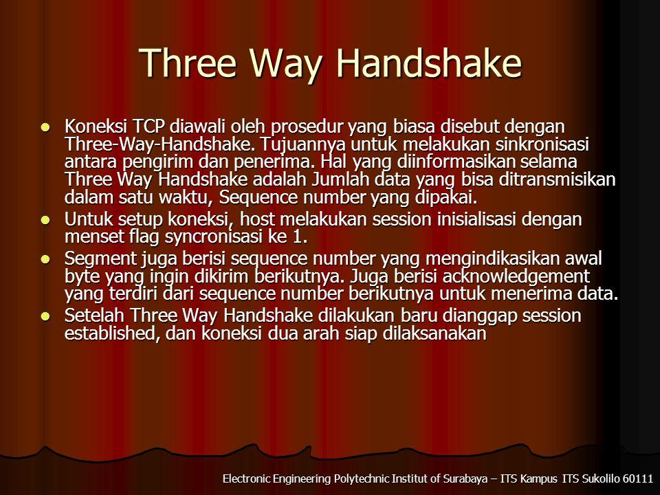 Electronic Engineering Polytechnic Institut of Surabaya – ITS Kampus ITS Sukolilo 60111 Three Way Handshake Koneksi TCP diawali oleh prosedur yang biasa disebut dengan Three-Way-Handshake.
