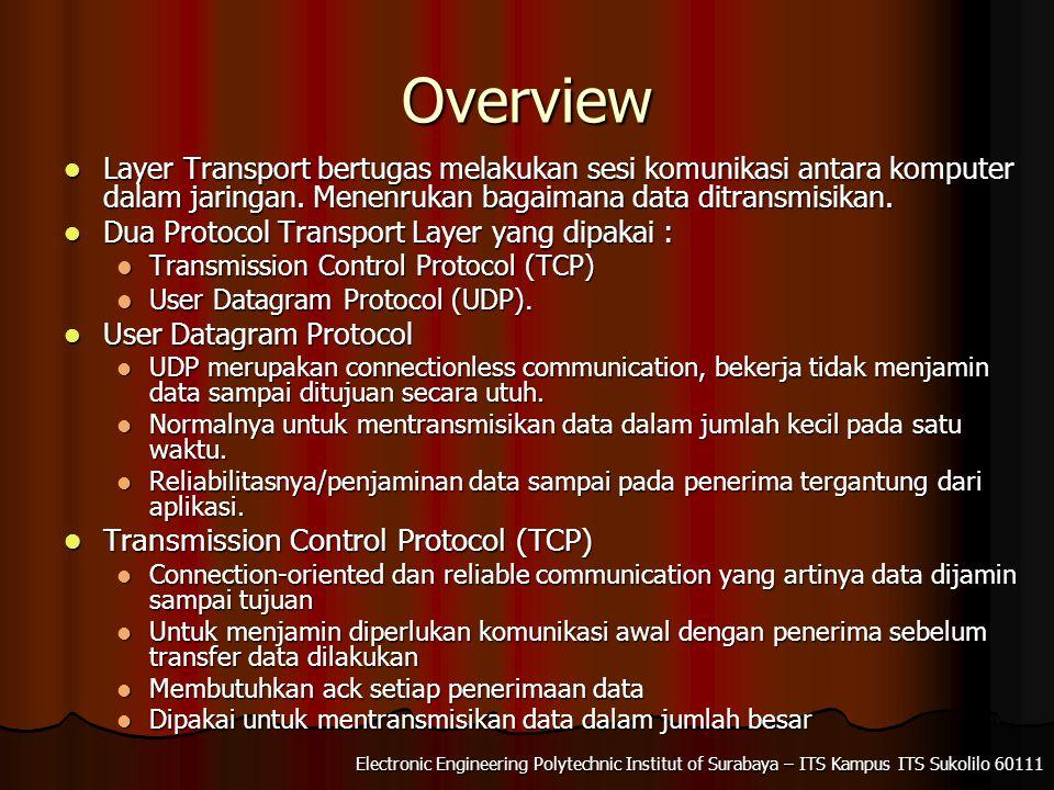 Electronic Engineering Polytechnic Institut of Surabaya – ITS Kampus ITS Sukolilo 60111 Overview Layer Transport bertugas melakukan sesi komunikasi an