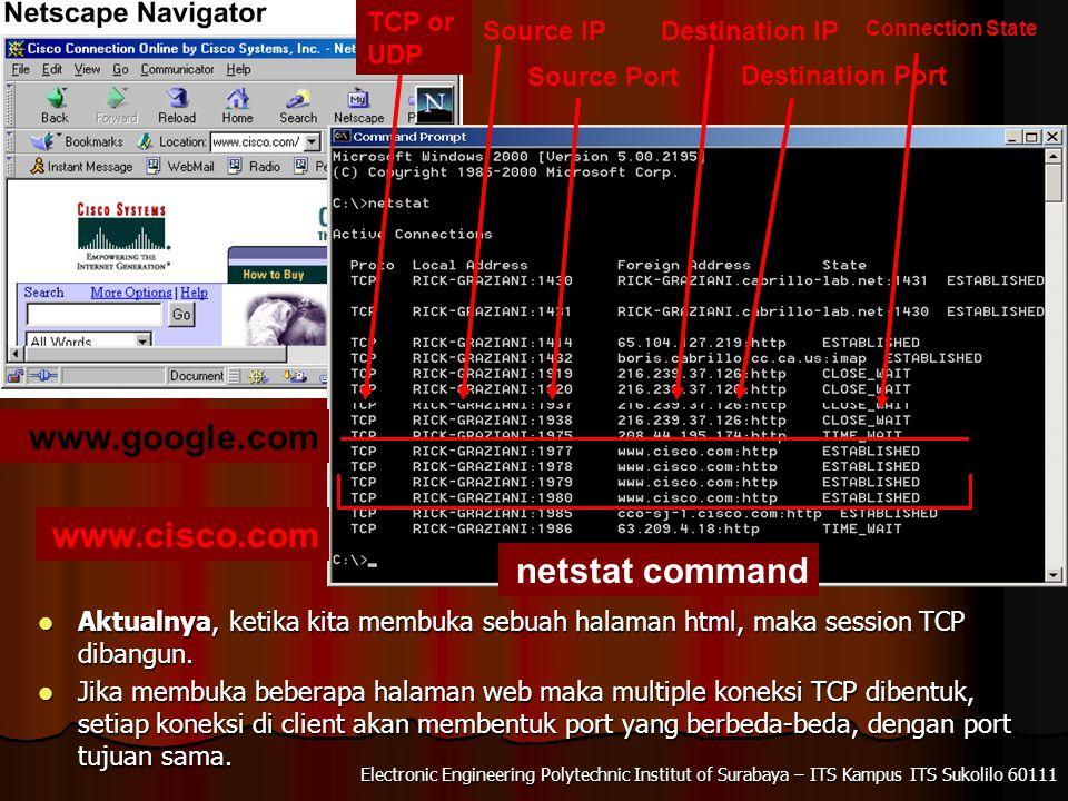 Electronic Engineering Polytechnic Institut of Surabaya – ITS Kampus ITS Sukolilo 60111 Aktualnya, ketika kita membuka sebuah halaman html, maka session TCP dibangun.