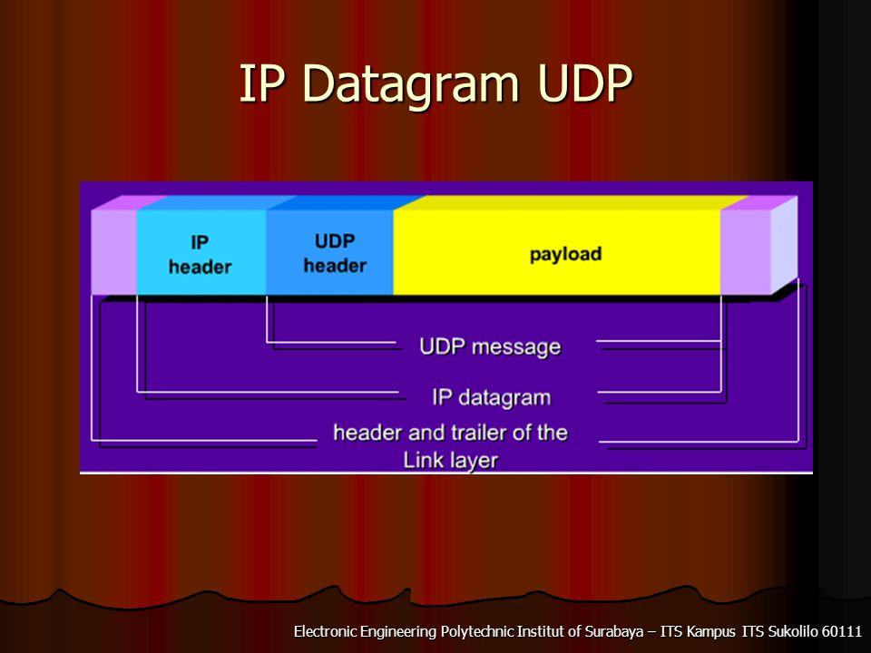 Electronic Engineering Polytechnic Institut of Surabaya – ITS Kampus ITS Sukolilo 60111 IP Datagram Message UDP ditransmisikan dalam bentuk IP datagrams.