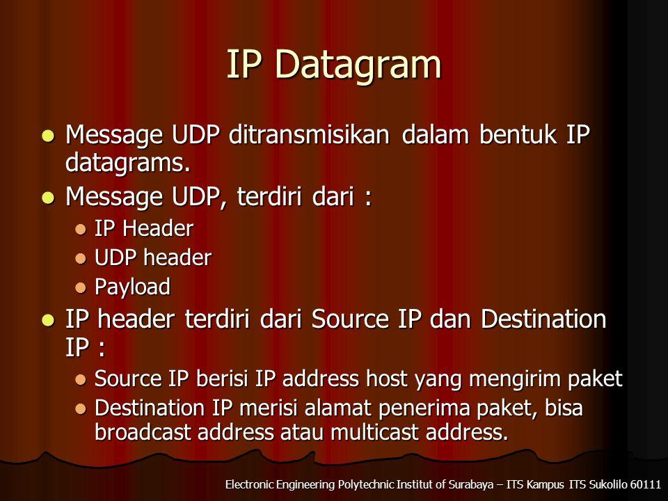 Electronic Engineering Polytechnic Institut of Surabaya – ITS Kampus ITS Sukolilo 60111 IP Datagram Message UDP ditransmisikan dalam bentuk IP datagra