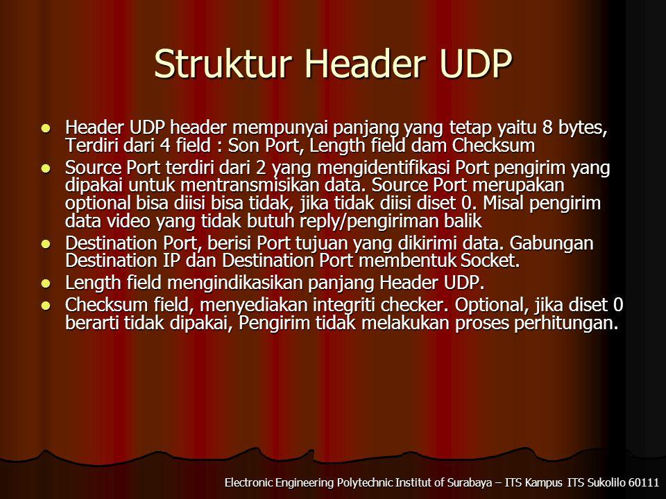 Electronic Engineering Polytechnic Institut of Surabaya – ITS Kampus ITS Sukolilo 60111 Struktur Header UDP Header UDP header mempunyai panjang yang t