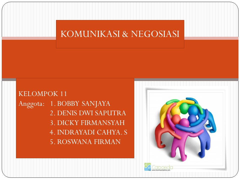 KOMUNIKASI & NEGOSIASI KELOMPOK 11 Anggota: 1. BOBBY SANJAYA 2. DENIS DWI SAPUTRA 3. DICKY FIRMANSYAH 4. INDRAYADI CAHYA. S 5. ROSWANA FIRMAN