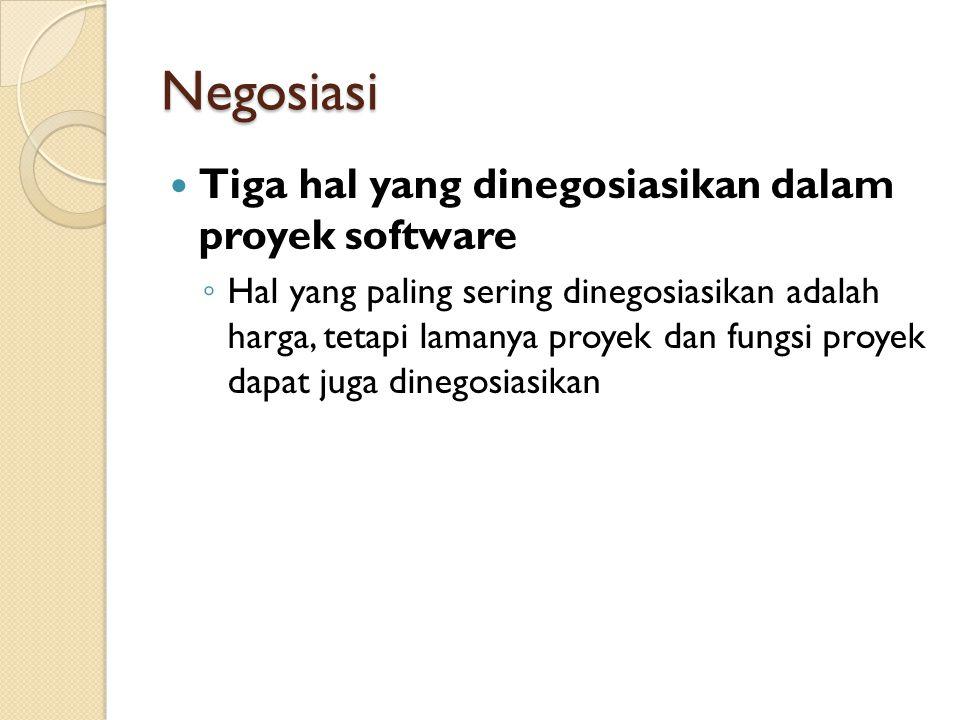 Negosiasi Tiga hal yang dinegosiasikan dalam proyek software ◦ Hal yang paling sering dinegosiasikan adalah harga, tetapi lamanya proyek dan fungsi pr