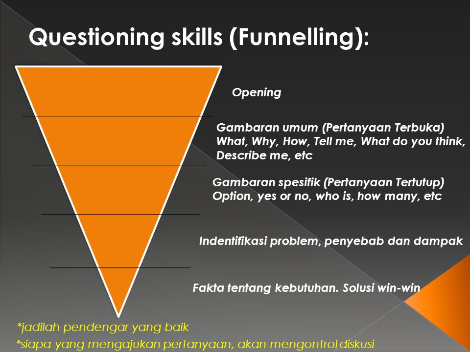 Questioning skills (Funnelling): Opening Gambaran umum (Pertanyaan Terbuka) What, Why, How, Tell me, What do you think, Describe me, etc Gambaran spes