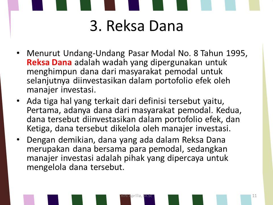 3. Reksa Dana Menurut Undang-Undang Pasar Modal No. 8 Tahun 1995, Reksa Dana adalah wadah yang dipergunakan untuk menghimpun dana dari masyarakat pemo