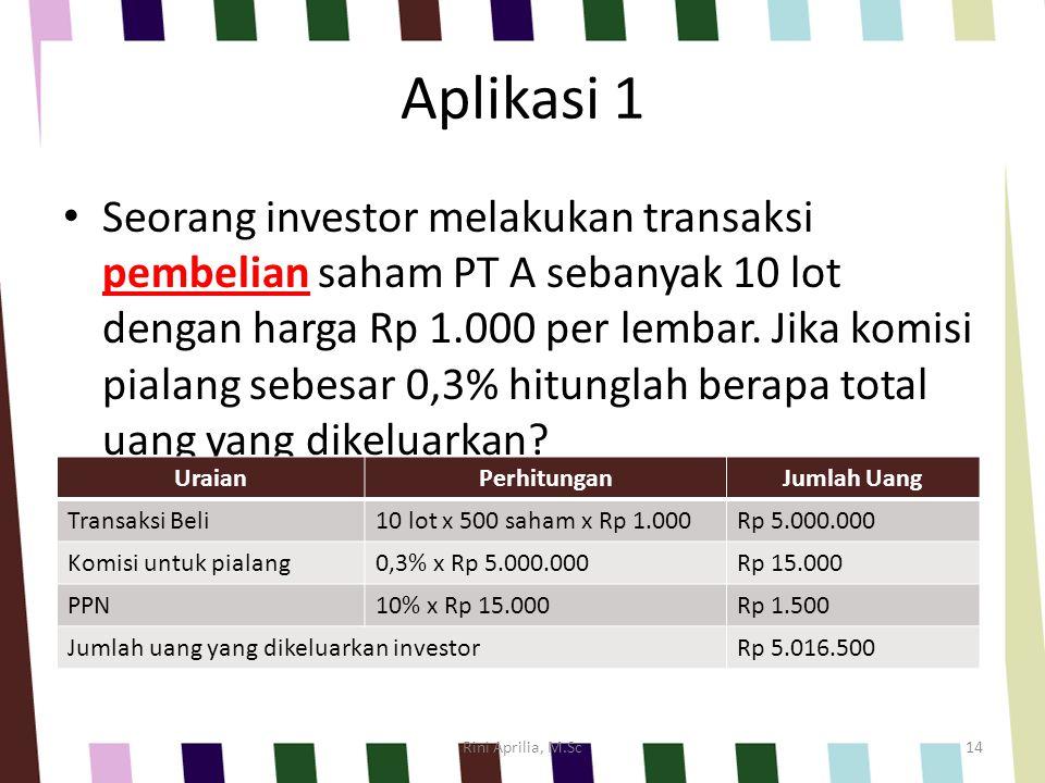 Aplikasi 1 Seorang investor melakukan transaksi pembelian saham PT A sebanyak 10 lot dengan harga Rp 1.000 per lembar.