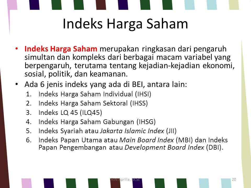 Indeks Harga Saham Indeks Harga Saham merupakan ringkasan dari pengaruh simultan dan kompleks dari berbagai macam variabel yang berpengaruh, terutama tentang kejadian-kejadian ekonomi, sosial, politik, dan keamanan.